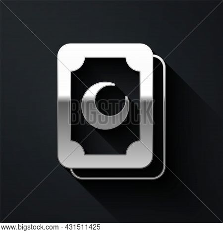 Silver Tarot Cards Icon Isolated On Black Background. Magic Occult Set Of Tarot Cards. Long Shadow S
