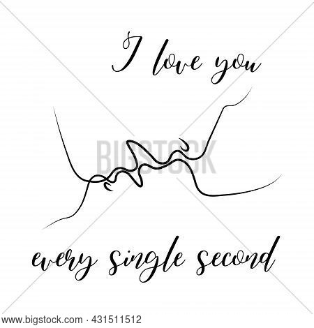 Passionate Kiss Of A Couple In Love In An Abstract Style With The Text I Love You Every Single Secon