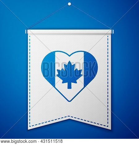Blue Heart Shaped Canada Flag Icon Isolated On Blue Background. Love Canada Symbol. White Pennant Te