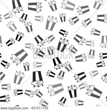 Black Popcorn In Cardboard Box Icon Isolated Seamless Pattern On White Background. Popcorn Bucket Bo