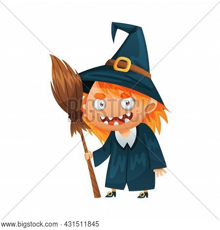 Redhead Witch In Pointed Hat With Broomstick As Halloween Character Vector Illustration
