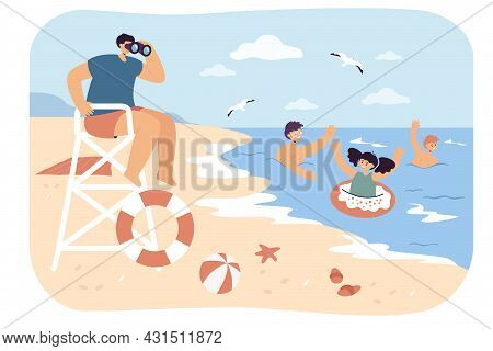 Lifeguard Looking After Swimming Kids From Beach. Flat Vector Illustration. Boys And Girl Enjoying W