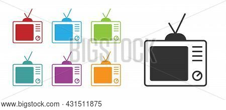 Black Retro Tv Icon Isolated On White Background. Television Sign. Set Icons Colorful. Vector
