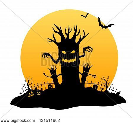 Halloween Night With Scary Tree. Element For Banner, Greeting Card, Halloween Celebration, Halloween