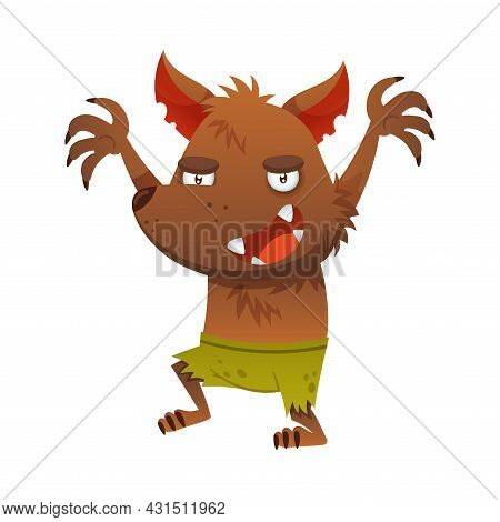 Furry Werewolf With Claw And Fangs As Halloween Character Vector Illustration
