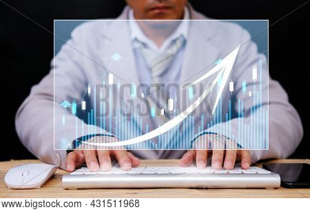 Businessman Working Computer Virtual Screening With Analysing Banking And Investment Growth Graph To