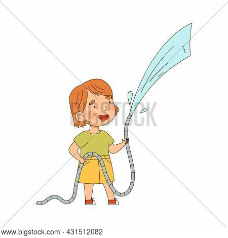 Little Redhead Girl With Hose Watering Taking Care Of Plant And Vegetation Vector Illustration