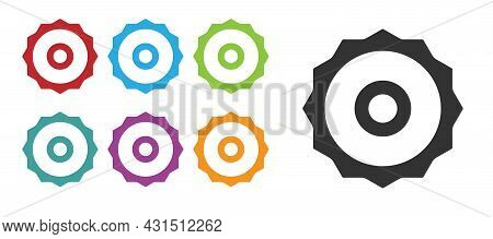 Black Circular Saw Blade Icon Isolated On White Background. Saw Wheel. Set Icons Colorful. Vector