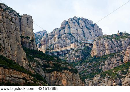 Montserrat Monastery Is A Spectacularly Beautiful Benedictine Abbey High Up In The Mountains Near Ba