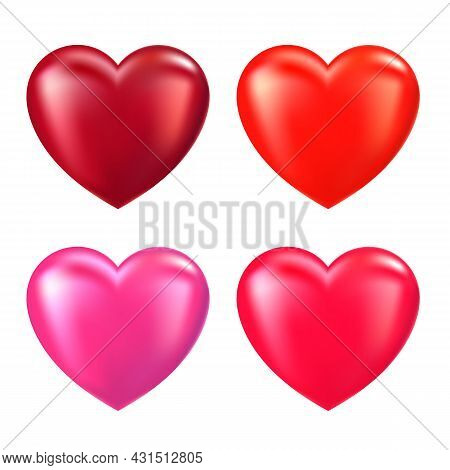 Vector Red Hearts Set Isolated On White Background. Valentine\'s Day Sign. Different Color Beautiful