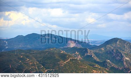 Breathtaking View To Montserrat Mountain Range On A Sunny Summer Day Near Barcelona, Catalonia, Spai