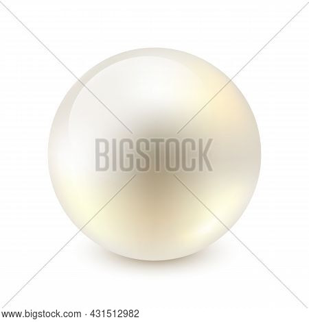 Vector Illustration Of Single Shiny Natural White Sea Pearl With Light Effects Isolated On White Bac