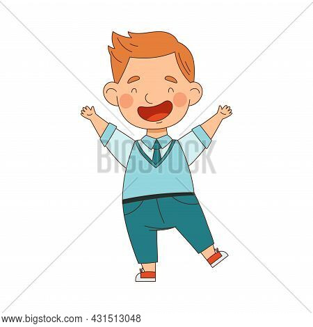 Back To School With Redhead Boy In Blue Uniform Standing With Raised Hands Laughing Vector Illustrat