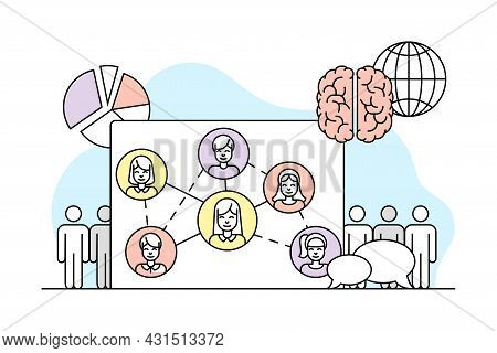 Human Brain As Social Science And Study Of Individual And Society Vector Line Illustration