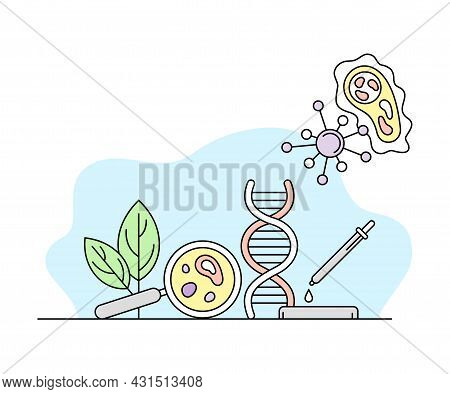 Biology Science And Study Knowledge Organizing With Dna And Magnifying Glass Vector Line Illustratio