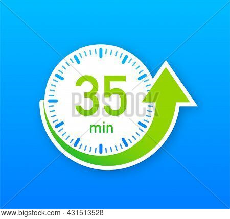 The 35 Minutes, Stopwatch Vector Icon. Stopwatch Icon In Flat Style, Timer On On Color Background. V