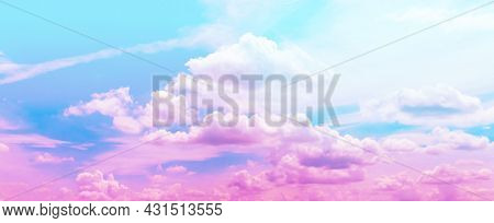 Horizontal Pastel Soft Sky, Purple Pink Sky, Pastel Colors Sky And Clouds For Background