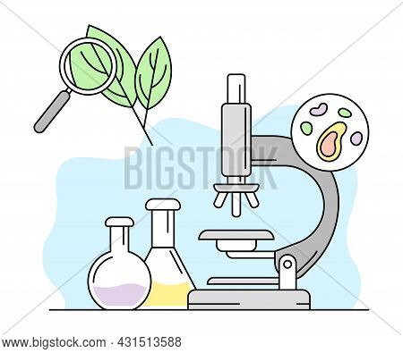 Biology Science And Study Knowledge With Microscope And Glass Flask Vector Line Illustration