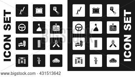 Set Engine Piston, Gear Shifter, Steering Wheel, Windscreen Wiper, Car Battery, Jumper Power Cable A