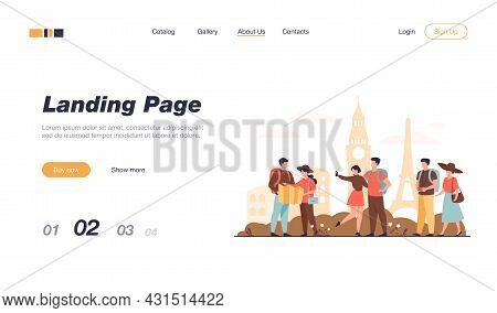 Happy Couples Traveling In Europe And Taking Photo Isolated Flat Vector Illustration. Cartoon Group