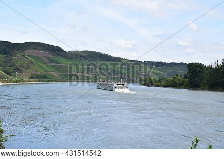 Boppard, Germany - August 24th 2021: Rhine With A Passenger Ship