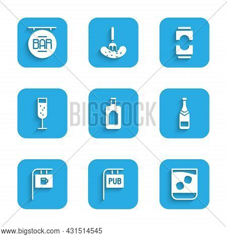 Set Whiskey Bottle, Street Signboard With Pub, Glass Of Whiskey, Champagne, Bar, Champagne, Beer Can