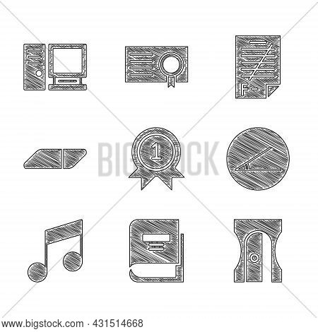 Set Medal, Book, Pencil Sharpener, Acute Angle, Music Note, Tone, Eraser Or Rubber, Exam Paper With