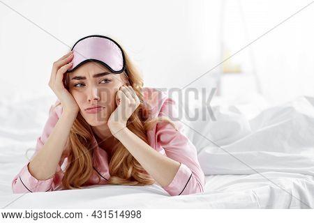 Upset Tired Bored Lady Wake Up After Bad Sleep, Tired Or Sleepless