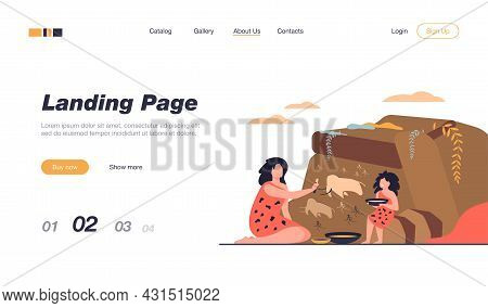 Ancient Woman And Kid Painting On Stone Wall Isolated Flat Vector Illustration. Cartoon Prehistoric