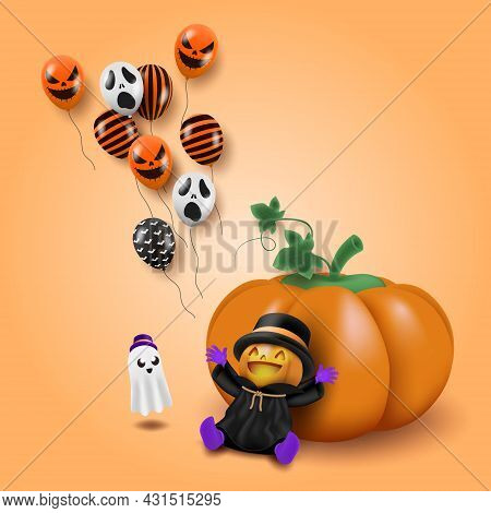 A Little Boy Wearing A Carved Pumpkin Mask Sit In Front Of The Giant Pumpkin And Smile Happily, Look