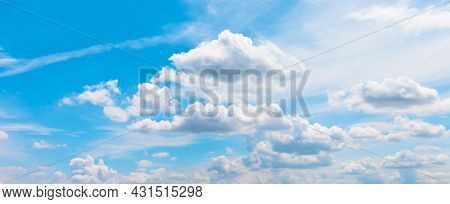 Horizontal Sky, Blue Sky And Cloud White For Background, Beautiful Horizon Sky Landscape For Backgro