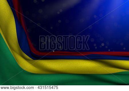 Wonderful Any Feast Flag 3d Illustration  - Dark Image Of Mauritius Flag Lie Diagonal On Blue Backgr