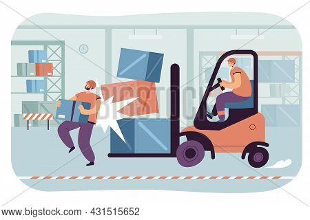 Warehouse Accident Flat Vector Illustration. Cartoon Employee Carrying Box, Getting Injured In Colli