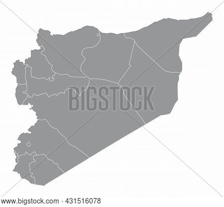 Syria Administrative Map Isolated On White Background