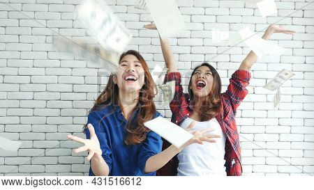 Happy Young Asian Woman Holding Dollar Money And Throw In The Air Celebrate Happiness Dance Wealth L