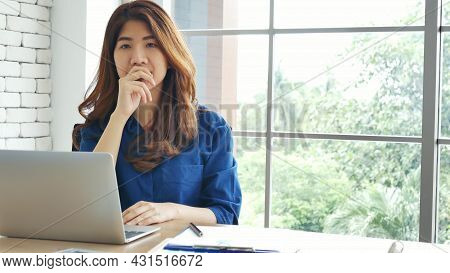 Happiness Two Women Working Together Confident Team Meeting In Office Desk. Team Business Partners W