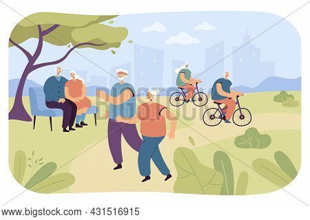 Elderly People Doing Sports And Relaxing In Nature. Flat Vector Illustration. Senior Athletes Riding