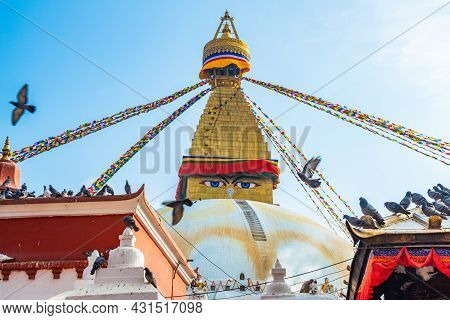 Boudhanath Stupa The Largest Stupas In The World Located In Kathmandu The Capital City Of Nepal. Bou