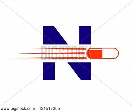 Medicine Logo With N Letter. N  Medicine Pill Or Tablet Logo Concept. Capsule Pharmacy Medical Logo