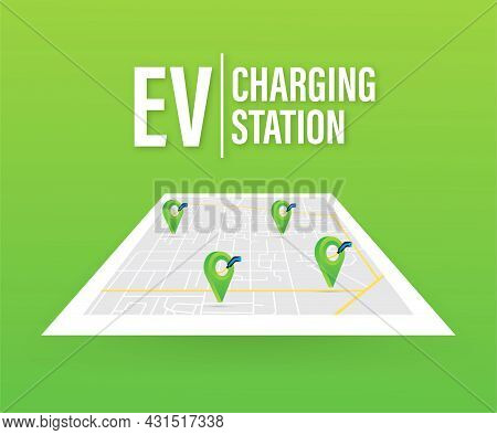 Electric Car Charging. Ev Station. Vehicle Standing.