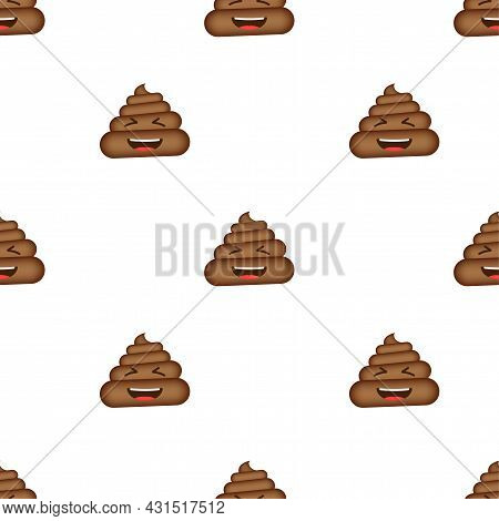 Poo Emoticon, Poop Face Pattern On White Background. Vector Stock Illustration.