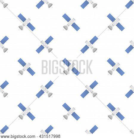 The Satellite Pattern. Artificial Satellites Orbiting The Planet Earth, Gps. Vector Stock Illustrati