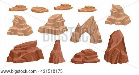 Desert Rock Vector Set, Cartoon Stone Canyon Arc, Mexico Eroded Nature Boulder Isolated On White. Dr