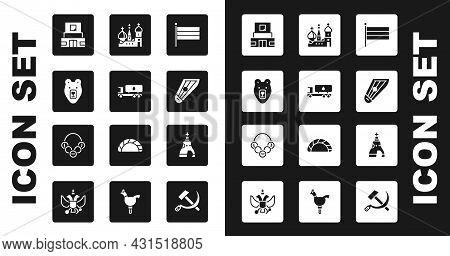 Set National Russia Flag, Tanker Truck, Bear Head, Mausoleum Of Lenin, Kankles, Saint Basils Cathedr