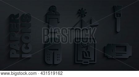 Set Portrait In Museum, Paint Brush, Medieval Iron Helmet, Museum Ticket, Egypt Pyramids And Gives L