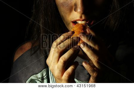 Poor Dirty Girl Eating A Piece Of Bread