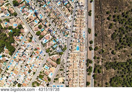 Pinar De Campoverde Residential District View From Above. Drone Point Of View Luxury Summer Villas W