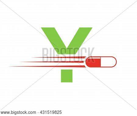 Medicine Logo With Y Letter. Y  Medicine Pill Or Tablet Logo Concept. Capsule Pharmacy Medical Logo
