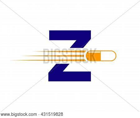 Medicine Logo With Z Letter. Z  Medicine Pill Or Tablet Logo Concept. Capsule Pharmacy Medical Logo