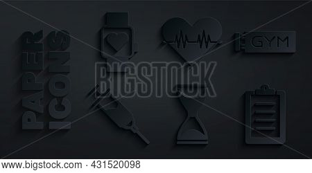 Set Old Hourglass, Location Gym, Doping Syringe, Sport Training Program, Heart Rate And Smart Watch
